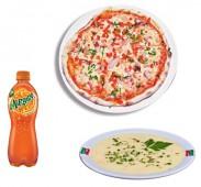Комбо Лайт  кусочек пиццы на тонком тесте + напиток (газировка 0,5/чай(кофе) 0,3